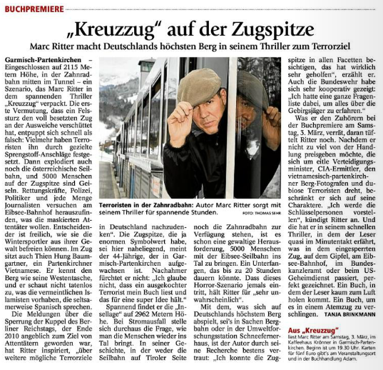 Marc Ritter Thriller Kreuzzug Zugspitzbahn
