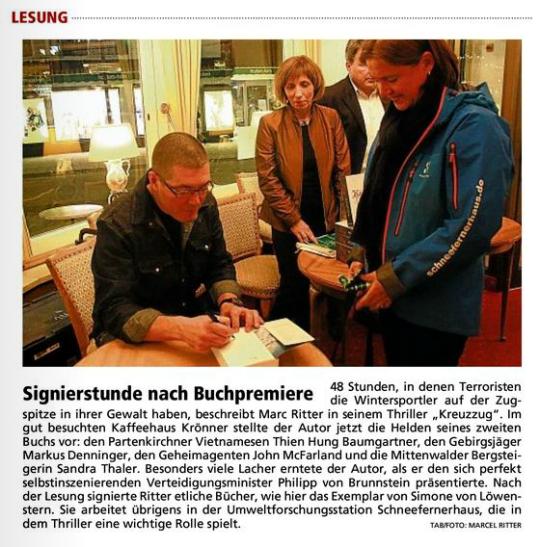 Marc Ritter Thriller Kreuzzug Zugspitzbahn Lesung
